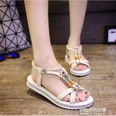 女平底學生羅馬新款沙灘防滑涼鞋坡跟水鑽串珠低跟露趾女  朵拉朵衣櫥