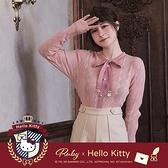 上衣 Hello Kitty x Ruby 聯名款.菱格綁帶針織長袖上衣-Ruby s 露比午茶