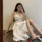 洋裝辣妹吊帶裙溫柔純欲風連身裙女裝夏季法式復古裙子ig潮品牌【邦邦男装】