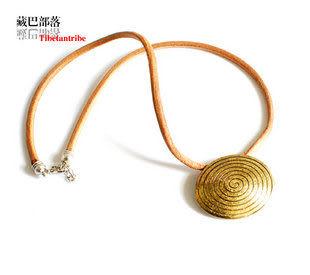 藏飾風格原色牛皮古銅色圓盤項鏈