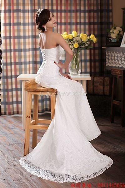 (45 Design) 空運 預購7天到貨   新款婚紗禮服韓版白色修身緞面魚尾抹胸蕾絲綁帶拖尾