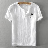 亞麻T恤-棉麻中國風扇子刺繡短袖男上衣2色73xf23【巴黎精品】
