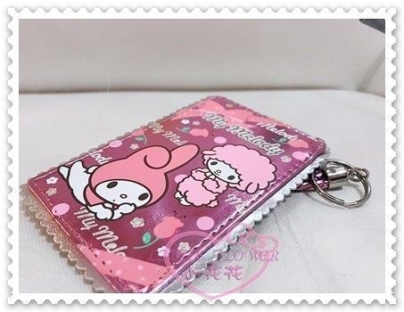 ♥小花花日本精品♥Hello Kitty 美樂蒂Melody證件票卡套玫瑰花點點亮面附掛繩58886106
