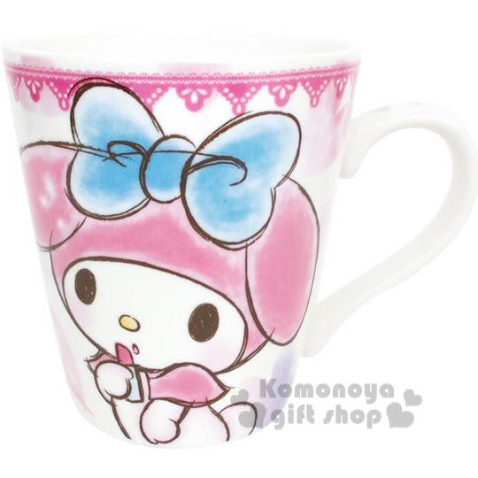 〔小禮堂〕美樂蒂 陶瓷馬克杯《粉.素描風.愛心.口紅》可愛實用 4548626-04788
