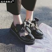娃娃鞋 日系洛麗塔lolita厚底女鞋可愛蝴蝶結圓頭娃娃鞋原宿平底軟妹皮鞋