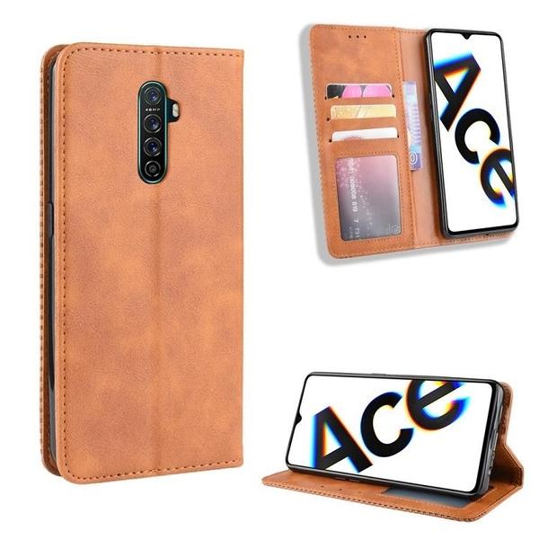 復古 掀蓋殼 OPPO Reno ACE 手機殼 磁釦 Realme X2 Pro 磁吸保護殼 翻蓋皮套 插卡手機套