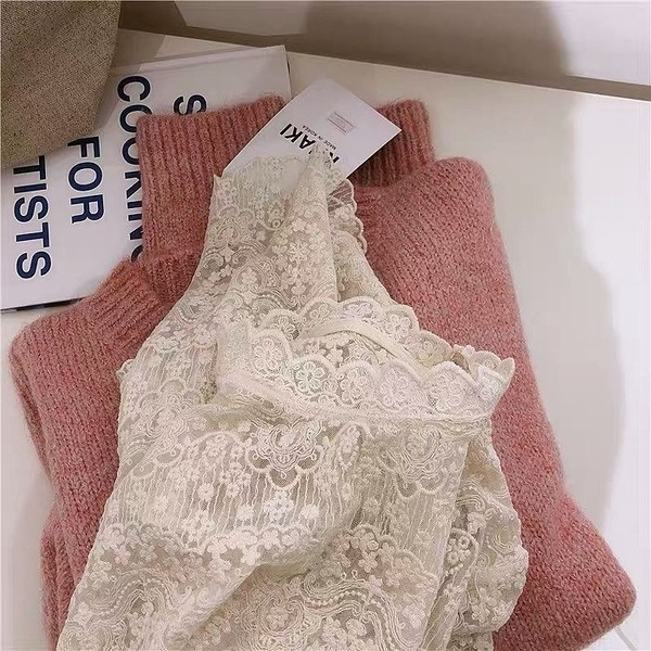 NiCELIFE 蕾絲上衣【C9902】秋冬款 蕾絲衫 甜美 氣質 長袖襯衫 雪紡衫 雪紡上衣