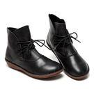 經典黑色舒適百搭牛皮鞋馬丁復古日系短靴有...