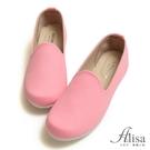 專櫃女鞋 MIT素面斜紋懶人樂福鞋-艾莉莎Alisa【2461191】粉色下單區