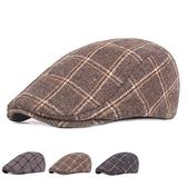 貝雷帽-英倫格紋秋冬溫暖男女鴨舌帽3色73tv40[時尚巴黎]