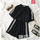 短袖套裝 新款夏韓版寬鬆休閒運動服套裝女學生短袖短褲闊腿跑步兩件套 韓菲兒