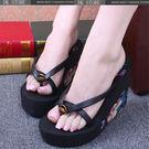花朵 加厚底 高跟 夾腳 坡跟 涼拖鞋
