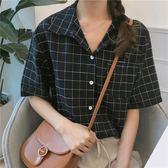 【新年鉅惠】夏裝女裝韓版復古格子寬鬆休閒襯衫