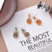 耳環  925銀針 時尚簡約小蝴蝶結水晶耳針【Ann梨花安】
