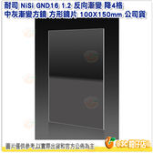 送清潔擦 耐司 NiSi GND16 1.2 反向漸變 降4格 中灰漸變方鏡 方形鏡片 100X150mm 公司貨