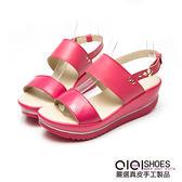 涼鞋 異材素面一字寬版真皮厚底涼鞋(桃紅)  *0101shoes 【18-575r】【現+預】