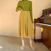 復古姜黃色燈芯絨半身裙女春秋新款高腰顯瘦A字裙中長款大擺裙子 韓國時尚週