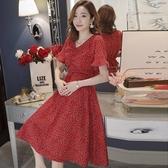 漂亮小媽咪 波點 洋裝 【D8834】 韓系 點點 浪漫 短袖洋裝 孕婦裙 孕婦裝