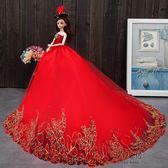 (中秋大放價)換裝芭芘比娃娃套裝大禮盒婚紗公主女孩兒童衣服洋娃娃玩具新年禮物