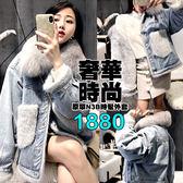 克妹Ke-Mei【AT54974】採購手提帶回奢華仿水貂毛口袋毛領厚N3B牛仔外套