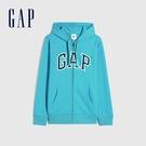 Gap男裝 碳素軟磨系列 Logo法式圈織開襟連帽外套 853131-孔雀藍