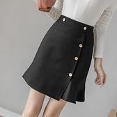 包臀半身裙S-3XL1101撞色金屬紐扣新款時尚彈力短款高腰魚尾裙半身裙職業裙D734快時尚