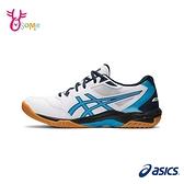 ASICS排球鞋 男女鞋 GEL ROCKET 10 羽排球鞋 室內運動鞋 亞瑟膠 訓練鞋 亞瑟士 C9159#白藍