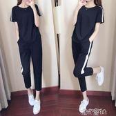 夏裝運動套裝女潮韓版時尚短袖九分褲寬鬆休閒兩件 港仔會社
