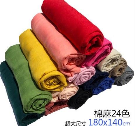 [協貿國際]  純色超大春夏防曬棉麻圍巾 (1入)