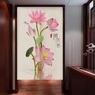 中國風水墨畫荷花門簾 禪意風水隔斷簾客廳臥室廚房門簾