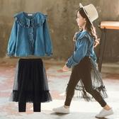 女童春裝套裝新品正韓時髦兒童牛仔兩件套洋氣春秋女孩衣服潮