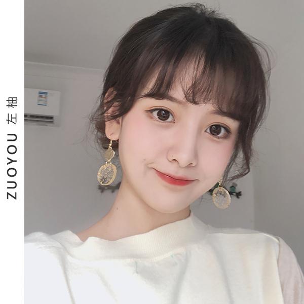 複古少女心金箔亞克力耳環女韓國氣質長款個性純銀耳墜耳飾