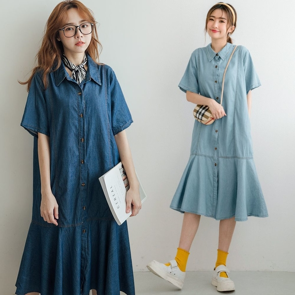 MIUSTAR 魚尾下擺排釦牛仔短袖洋裝(共2色)【NJ1606】預購