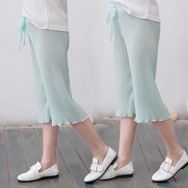 女童寬褲 馬卡龍色 輕薄透氣 雪紡長褲 兒童長褲 七分褲 SL680 童裝