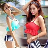 【R】現貨 - 韓版 性感 甜美 可愛 條紋 荷葉邊 高腰 比基尼 泳衣 泳裝 游泳衣 度假 休閒