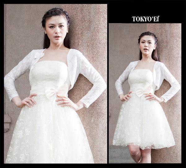 東京衣服-氣質蕾絲網紗長袖小外套 白(共二色)