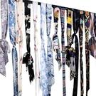 全館83折 長條小絲巾女窄布條腰帶裝飾配...