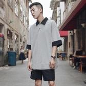 Polo衫夏季復古拼接短袖polo衫男士潮流港風寬鬆翻領半袖潮牌 新品特惠