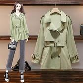 第二件4折 韓系收腰顯瘦百搭風衣外套單品長袖上衣