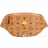 MCM Stark 小款 品牌塗層帆布胸背/腰包(棕色) 1840728-B3