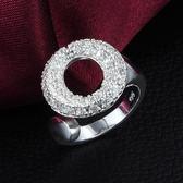 925純銀戒指鑲鑽-圓圈造型生日七夕情人節禮物女配件73at150【巴黎精品】