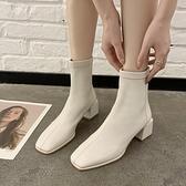 馬丁靴 英倫風加絨方頭短靴女2021春季新款馬丁靴短筒瘦瘦靴粗跟棉靴子【快速出貨八折優惠】