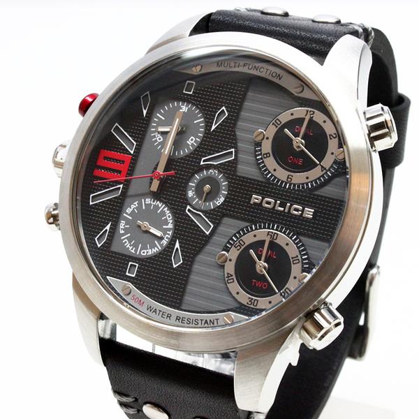 【萬年鐘錶】POLICE COPPERHEAD  計時腕錶  黑白系錶面 鋼殼  黑皮帶 男錶 大錶徑 54mm 14374JS-02
