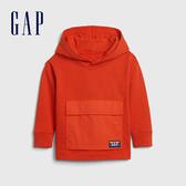 Gap男幼童 活力亮色刷毛針織連帽休閒上衣 617800-橘紅色