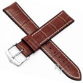 【台南 時代鐘錶 海奕施 HIRSCH】小牛皮錶帶 橡膠芯 George L 棕色 附工具 0925128070 複合式性能