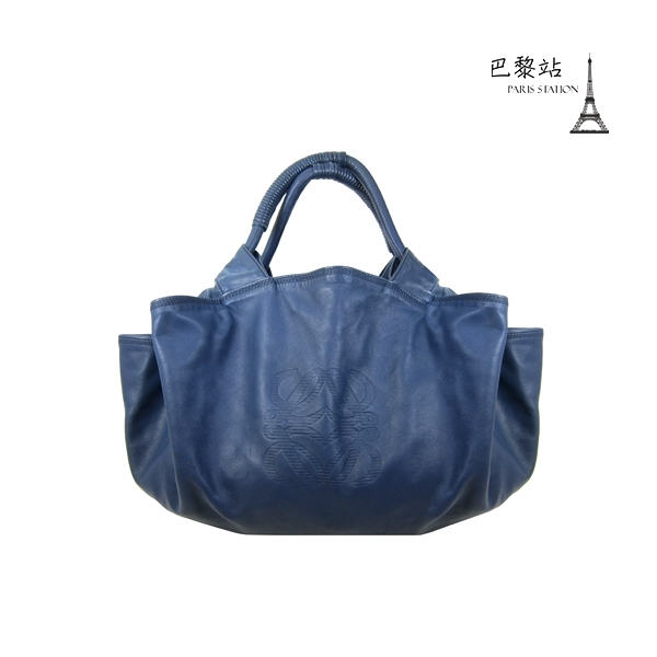 【巴黎站二手名牌專賣店】*現貨*LOEWE 羅意威 真品*Napa Air Bag 藍色真皮空氣包 手提肩背包