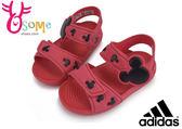 ADIDAS小童涼鞋 限量版 迪士尼米奇 極輕量 魔鬼氈 防水涼鞋I6458#紅色◆OSOME奧森童鞋/小朋友