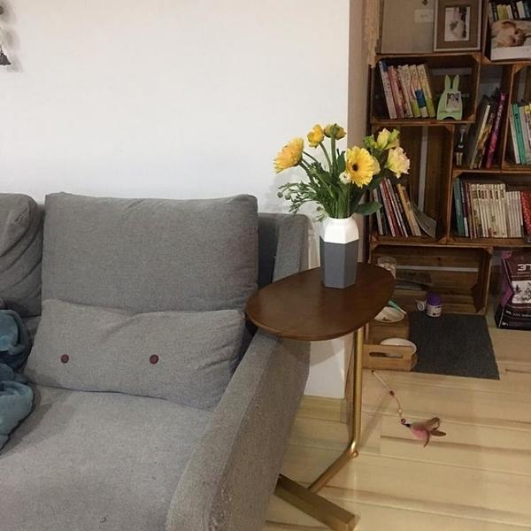 創意簡約橢圓形小茶幾 移動鐵藝實木沙發角幾邊幾 懶人床頭閱讀桌