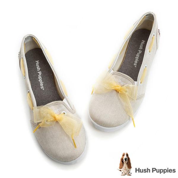 Hush Puppies 緞帶蝴蝶結咖啡紗甜心娃娃鞋-淺褐色
