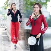 春秋新款原創設計 民族風繡花燈籠袖中國風復古長袖棉T恤洋裝 週年慶降價